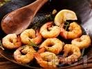Рецепта Скариди на тиган с розмарин, лимон и чесън